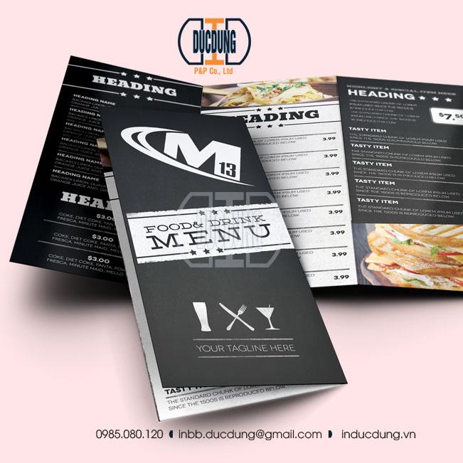 Tờ rơi A4 dạng menu nhà hàng